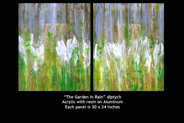 The Garden in Rain - Diptych  SOLD