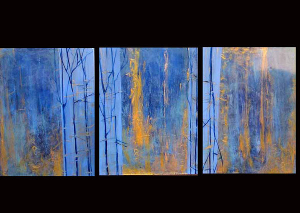 Autumn Blues - triptych   SOLD - collection of Beverly Chapman